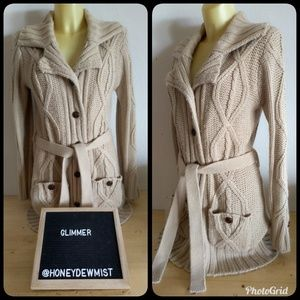 • Glimmer • Tan Thick Knit Heavy Sweater Cardigan